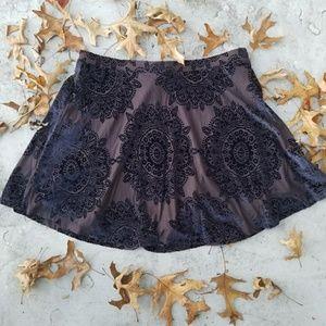 LA Hearts velvet mandala mini skirt